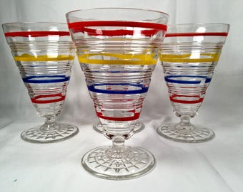 Flat Juice Glass in Banded Rings Clear and Multi Colored Bands by Anchor Hocking 1927-1933