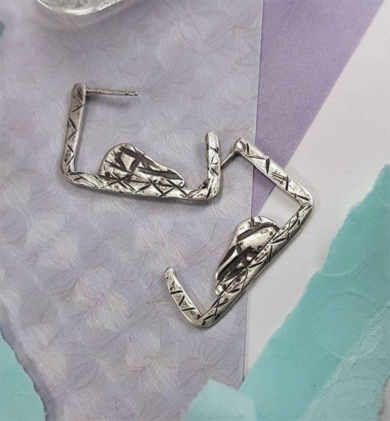 Tribal, Textured, Geometric Hoop Earrings | Oxidized & Brushed Silver Earrings | Sterling Silver Hoop | Art Jewelry Silversmith | OOAK