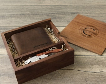 Valentines Day Gift for Him - Engraved Wood Groomsmen Gift Box Set - Wood Leather Anniversary - Cork Screw - Engraved Flask - Leather Wallet