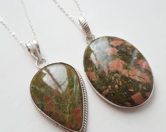 Unakite necklaces teardrop or oval