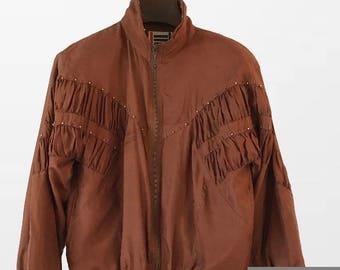 Zip Up silk Jacket  Brown