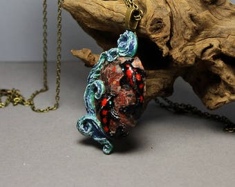 Black and Red Koi with Swarovski Crystals and Flame Jasper pendant necklace - Handsculpted from durable Clay - OOAK Jewelry