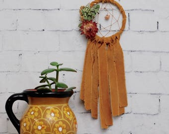 Mustard Yellow Mini Dream Catcher- Rearview Mirror Dream Catcher