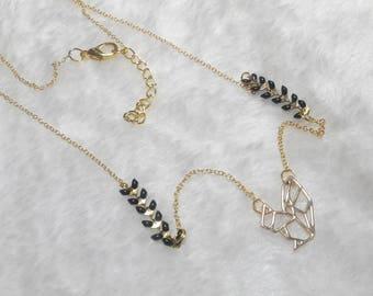 Gold black origami squirrel necklace