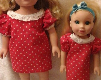 Sweetheart Dress for American Girl or Wellie Wishers