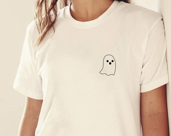 Halloween Shirt Pocket Ghost, Pocket T Shirt, Ghost Shirt, Ghost T Shirt, Cute Halloween Shirt for Girls, Gift for Her, Back to School Shirt