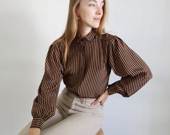 STUNNING Vintage Gold and Black Striped Satin Blouse