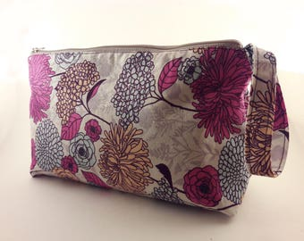 Wristlet Hand Bag, Flower Patch; Makeup Bag, Notions Storage, Purse.