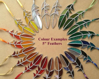 "Stained Glass Feather Suncatcher,Sun Catcher,Glass Art,Native American Tribal,Fairy,Fantasy,Memorial,Spirit,Mothers Day,OOAK,Choose 5""to 10"""