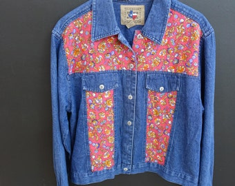 Vintage denim jacket with flower panels