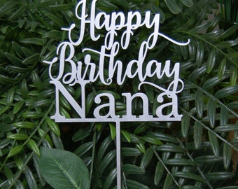 Personalized Happy Birthday Name Cake Topper - Anniversary Cake Topper, Rustic  Chic, Birthday Cake Decor at any age!
