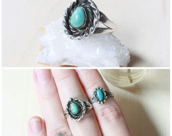 Vintage Turquoise Ring, Size 6 Ring, Vintage Boho Jewelry, Southwestern Jewelry, Boho Turquoise, Sterling Silver Turquoise