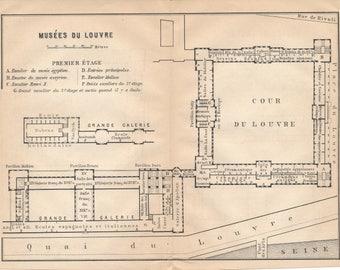 1904 Louvre Museum, Paris France Antique Map