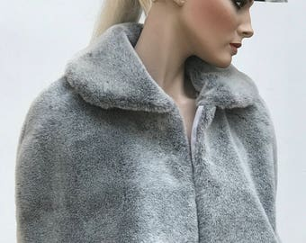 Faux fur fake fur cape capelette, fitted, white, mink, silver grey, black, skull clasp, clasp options