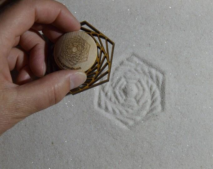 Sand Stamp, Spiral Hex Design, Zen Garden Stamp
