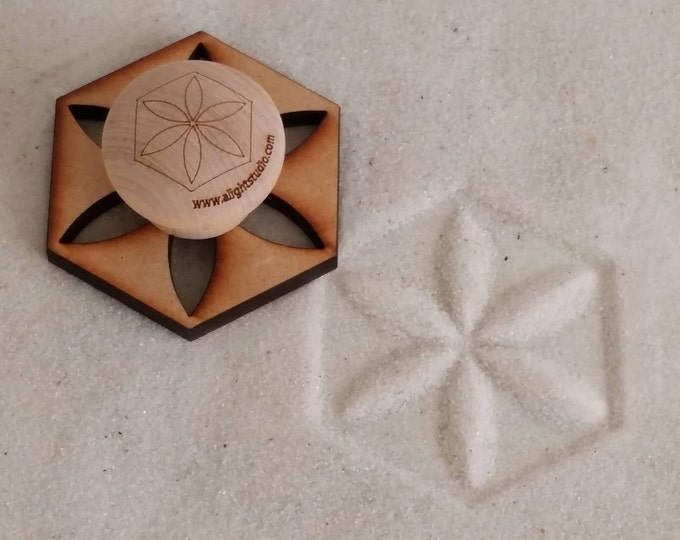 Sand Stamp, Flower Design, Zen Garden Stamp