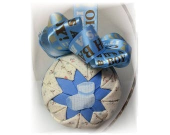 "Quilted Handmade Keepsake Baby Ornament ""It's A Boy"""