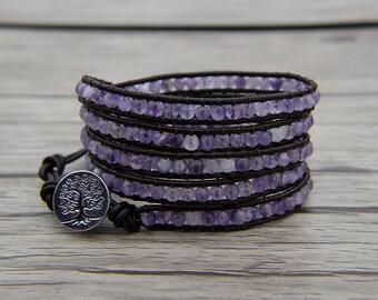 Leather wrap bracelet Facted beads bracelet Amethyst bracelet Purple bead wrap bracelet Amethyst Wrap bracelet BOHO bracelet SL-0560