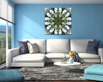 Unique Mandala Art ~ Large Canvas Print ~ Feng Shui Wood Element ~ Modern Home Decor ~ Blue & Green Wall Art ~ Nature Photography Australia