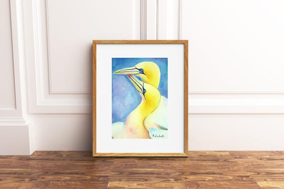 Birds in love, original watercolor by Francesca Licchelli, romantic gift idea for engagement, home office decoration, bedroom decore, art.
