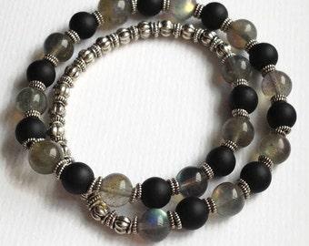 Balance Beaded Bracelet, Meditation Wrap Bracelet, Labradorite and Black Obsidian, 27 Bead Wrist Mala Bracelet, Boho wrap gemstone bracelet
