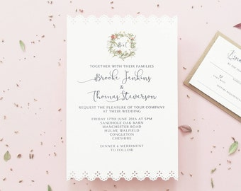 Wedding Invitation / Affordable Invite / Vintage Invite / Lace Invite / Wedding Invite / Simple Invite