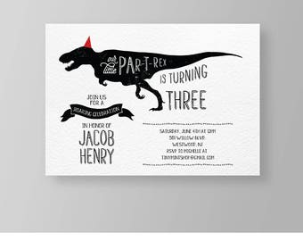 Dinosaur Birthday Party Invitation | Boy Birthday Invite | Printable | T-Rex Dino Party | Instant Download | Editable | Templett DIY #042BBD