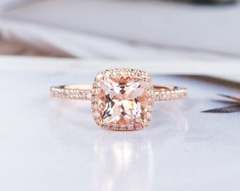 Cushion Cut Morganite Engagement Ring Rose Gold Wedding Ring Halo Half Eternity Diamond Promise Bridal Stacking Gift for Her Women