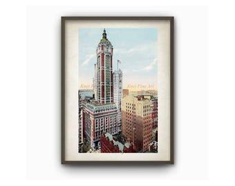 NYC, Vintage Poster, Woolworth Building, Art Decor, Art print, New York Wall Art, Vintage Printable, Home Decor,  printable art