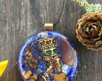 Queen Nefertiti Lapis Lazuli & Australian Boulder Opal Orgone® Necklace