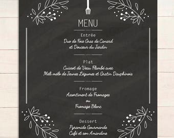 Menu style ARDOISE customizable // Template recto for wedding, christening, reception, restaurant in digital or print format
