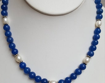 Blue Onyx and Pearl Necklace, Free Shipping (E17178), Onyx Necklace, nppkl, Pendantlady,pq