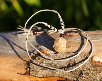 Crystal Macrame Necklace - Rutilated Quartz
