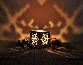 Candle holder Tealight holder Christmas gifts Christmas Lantern Wood candle holder Tea light candle holder Candlesticks Snowflake ornament