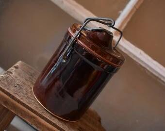 Vintage Cheese Crock, Small Brown Crock, Vintage Stoneware, Farmhouse Kitchen Decor, Rustic Kitchen Decor, Country Living,