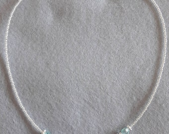 Aquamarine and clear glass necklace