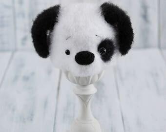 Crochet Baby Puppy Dog White Black Animal Hat Photography Props