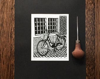 Bicycle|Bike Art|Commuter Bike|Cruiser|Denmark|Cykel|Limited Edition|Linocut|Block Print|Black and White|Signed|Gift for Bike Rider|Cycle