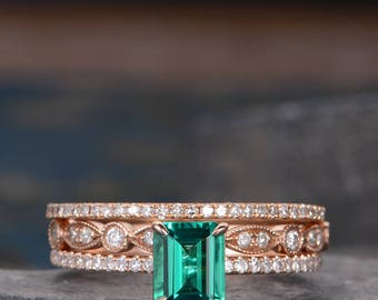 Antique Engagement Ring Set Lab Emerald Rose Gold Stacking Wedding Ring Matching Ring Set Diamond Art Deco Pave Anniversary Gift 3 Pieces