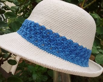 summer Hat women handmade crochet ecru cotton and Denim Blue, soft, malleable, washable