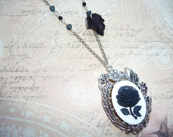 Black rose cameo necklace Victorian romantic Gothic silver white