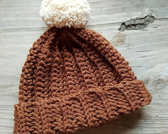 Adult   COPPER BROWN   Crocheted Unisex Bobble Hat   With Cream Pom Pom