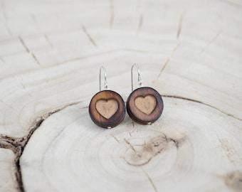 Boucles d'oreilles Ronde Bois Récupéré et Argent - Coeur
