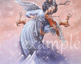 Violin * Angel * GIF file * PyeongChang 2018 Winter Paralympic Games * E-card  * Korea * Mountains * Painting * Illustration * Download