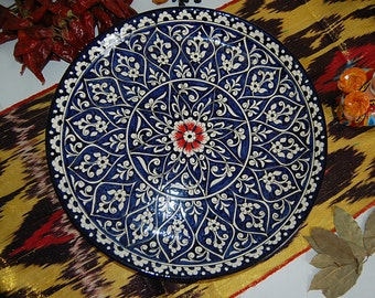 uzbek decorative ceramic vintage style handmade painted plate diameter: 36 sm (14.17 in) 0008
