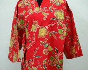 Japanese haori kimono red floral kimono jacket /kimono cardigan/kimono robe/#043