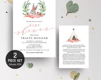 INSTANT DOWNLOAD Woodland Rabbit Girl Baby Shower Invitation Printable Template - Greenery  Wreath - BONUS Detail Card