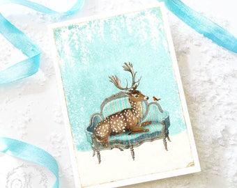 Deer Christmas card, deer card, reindeer holiday card, white Christmas, blank card
