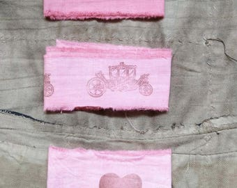 Ribbon. Handmade Ribbon. French Frayed Ribbon. Pink Ribbon. Handmade Frayed Ribbon. Coach Birds Heart. Handmade Trim. Hand Dyed. Rose Pink.