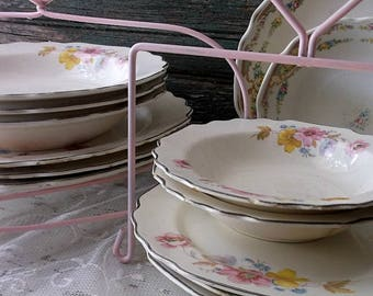 Shabby Chic Pink Cottage China Plate Stands - 2 Wrought Iron Plate Holders. Cottage Chic Romance - Tea parties - Weddings Dessert Stands